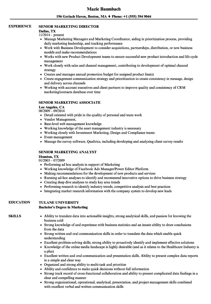 Senior Marketing Resume Samples | Velvet Jobs