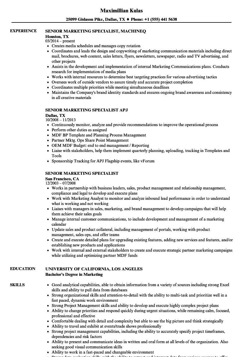 Senior Marketing Specialist Resume Samples | Velvet Jobs