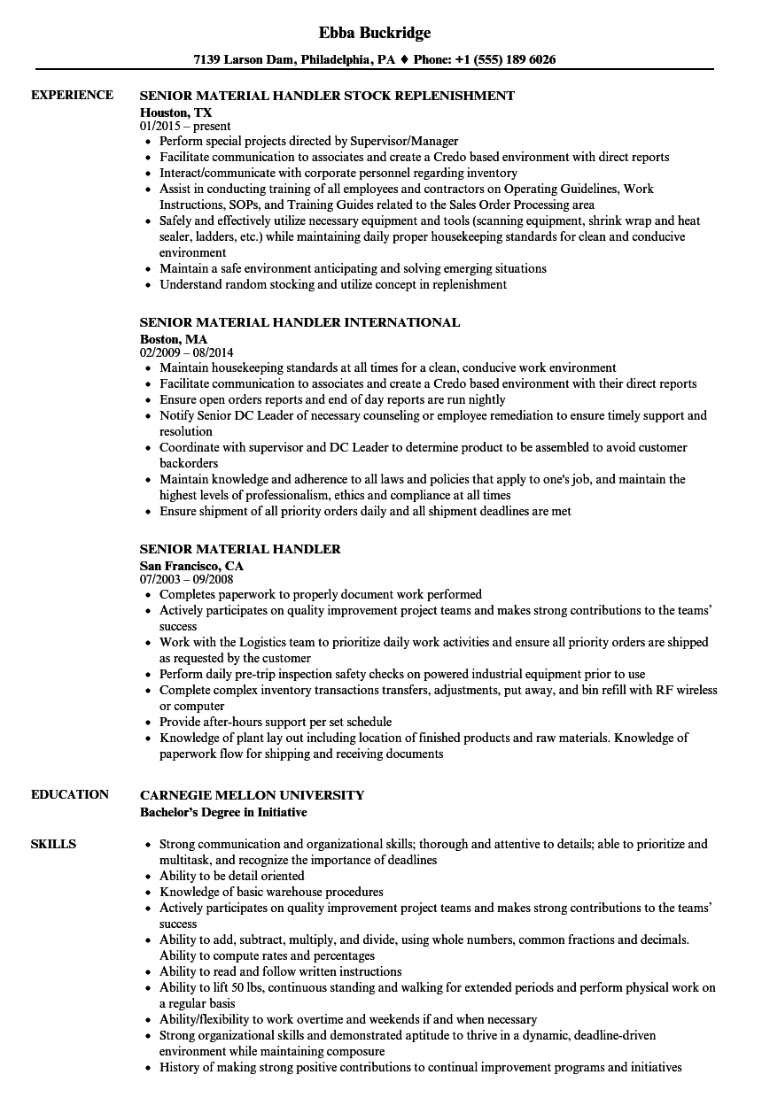 Senior Material Handler Resume Samples | Velvet Jobs
