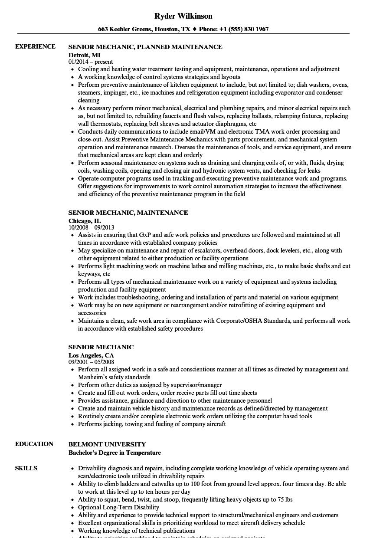 Download Senior Mechanic Resume Sample As Image File  Sample Mechanic Resume