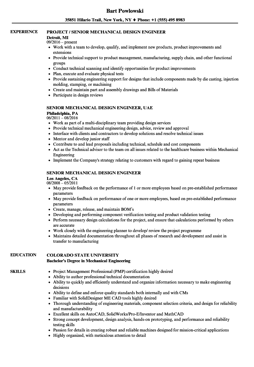 resume samples for design engineers mechanical