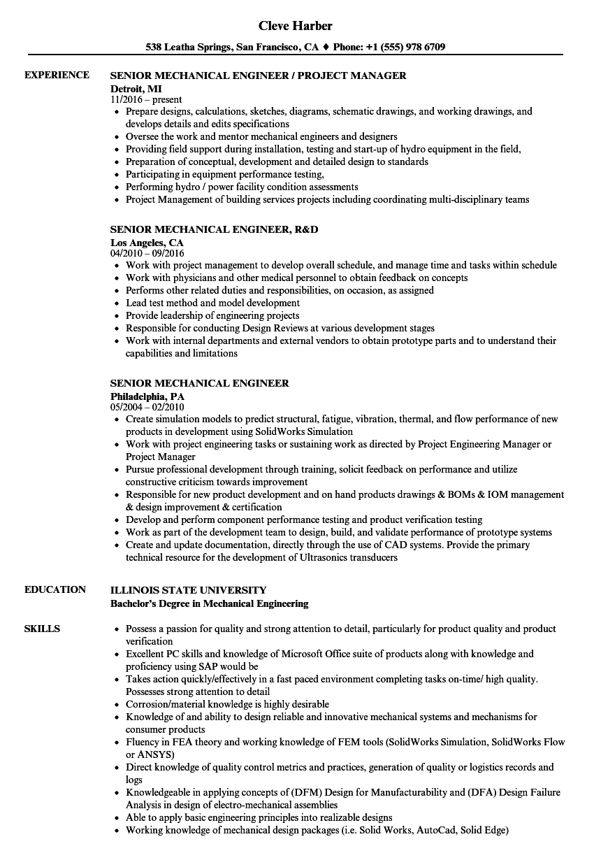 Senior Mechanical Engineer Resume Samples | Velvet Jobs