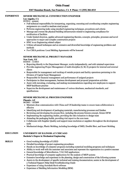 senior mechanical resume samples velvet jobs