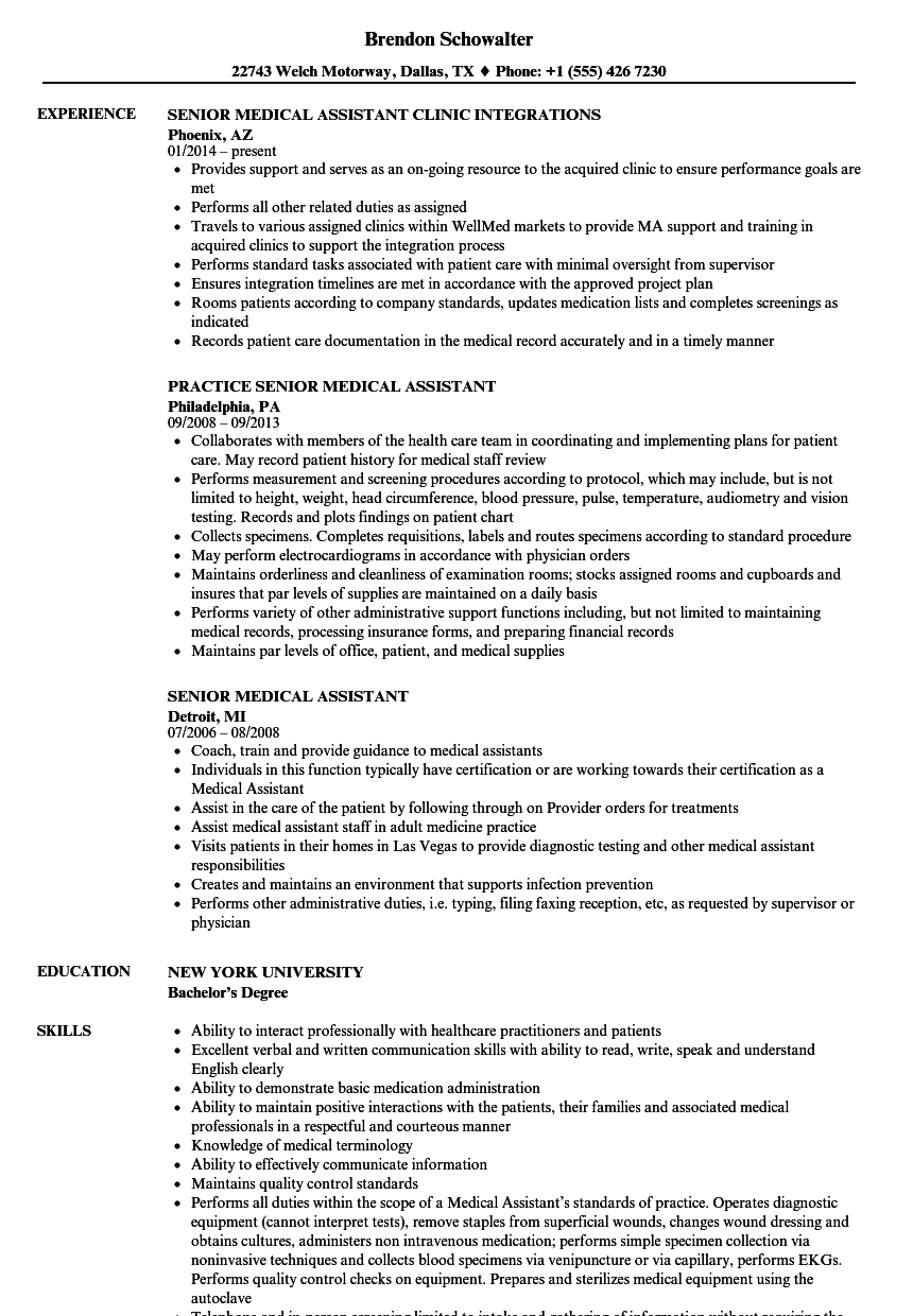 Senior Medical Assistant Resume Samples | Velvet Jobs