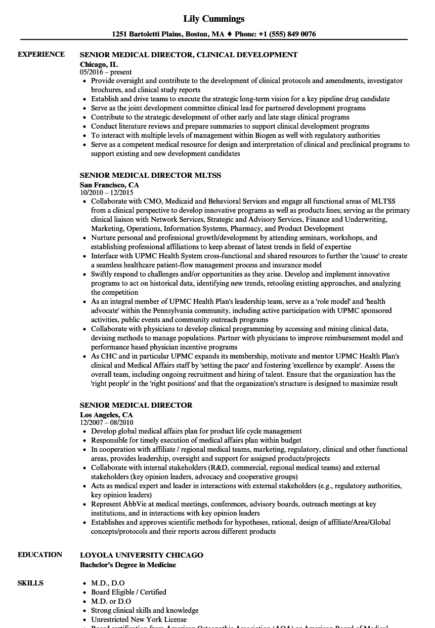 senior medical director resume samples