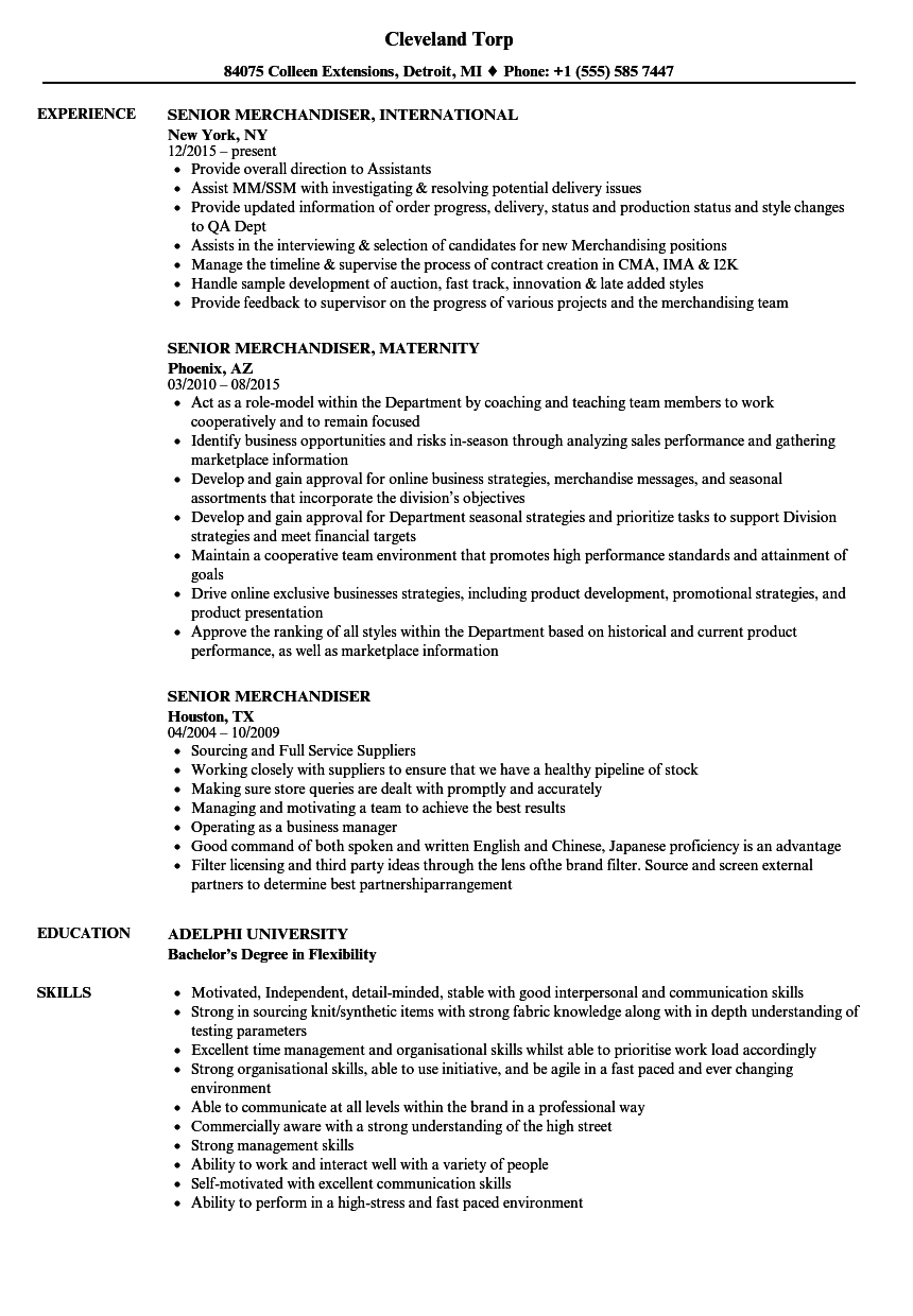Senior Merchandiser Resume Samples Velvet Jobs