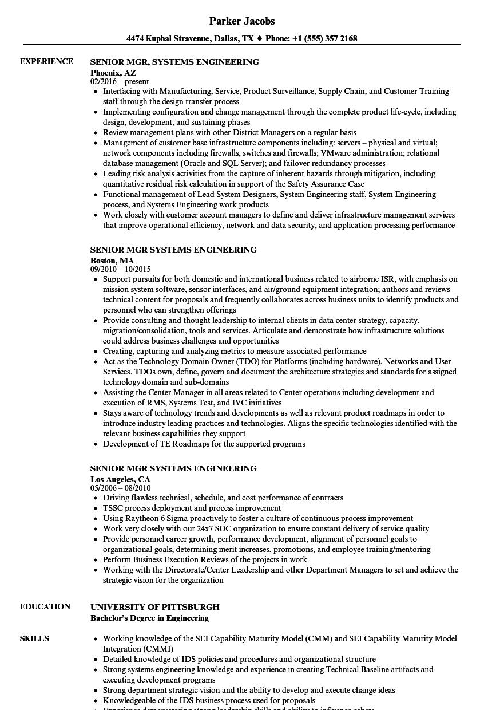 Senior Mgr Systems Engineering Resume Samples | Velvet Jobs