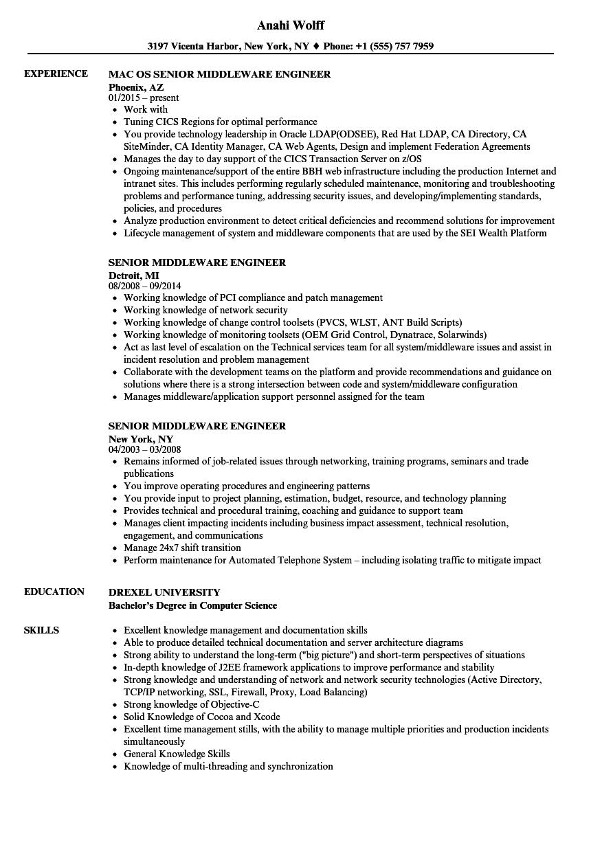 senior middleware engineer resume samples