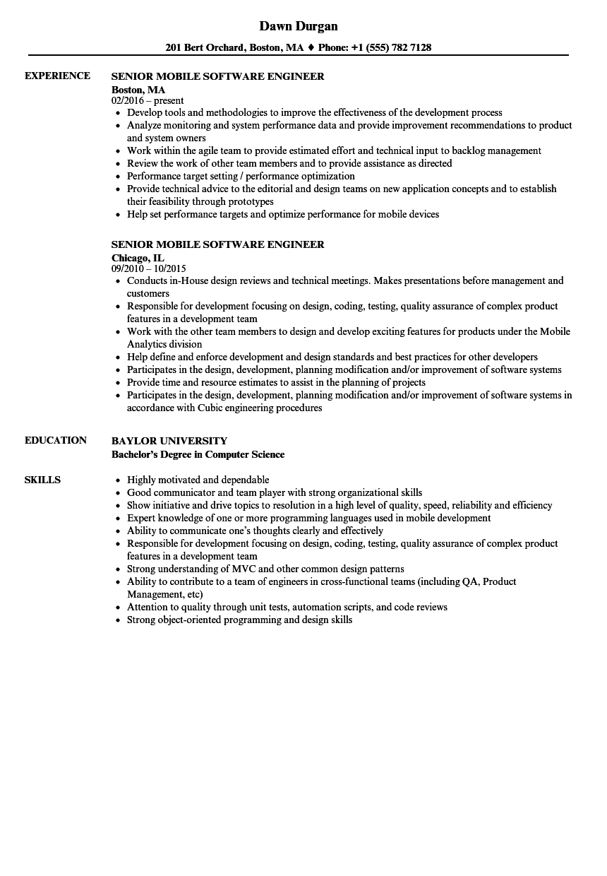 Senior Mobile Software Engineer Resume Samples | Velvet Jobs