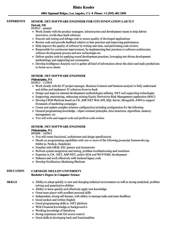 senior  net software engineer resume samples