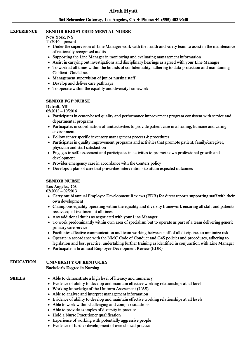 senior nurse resume samples