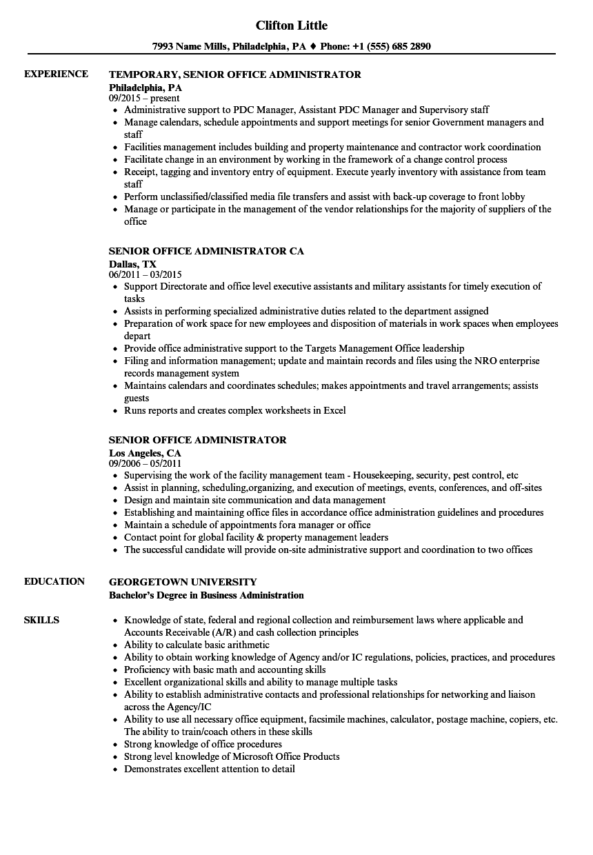 Senior Office Administrator Resume Samples | Velvet Jobs