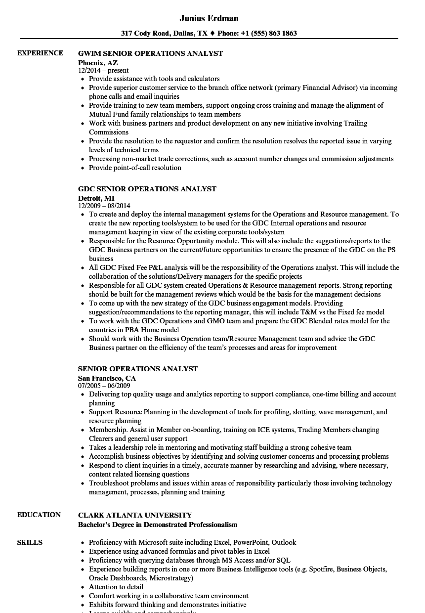 Senior Operations Analyst Resume Samples | Velvet Jobs