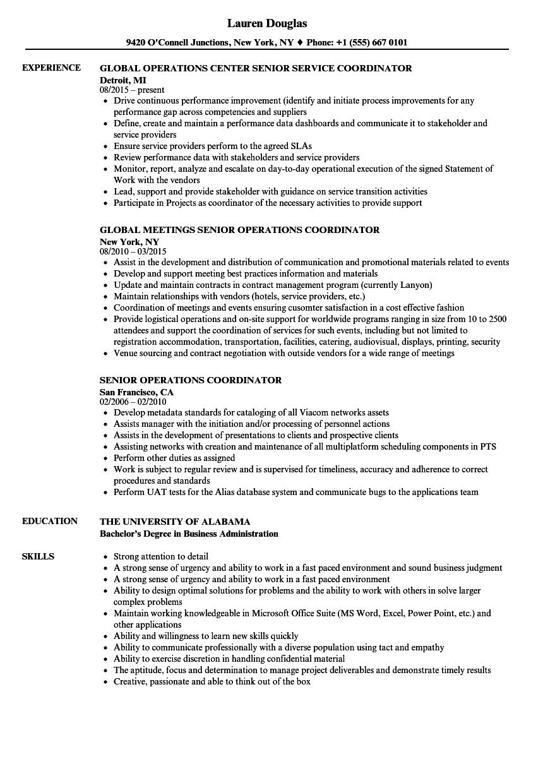 Senior Operations Coordinator Resume Samples | Velvet Jobs