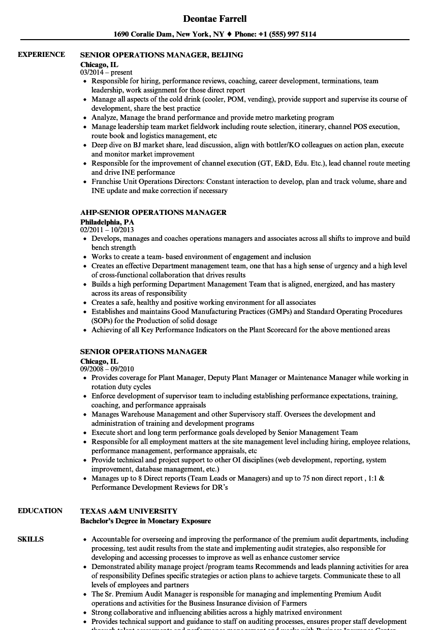 Senior Operations Manager Resume Samples | Velvet Jobs