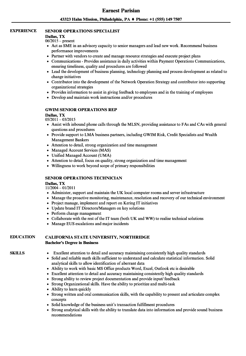 Senior Operations Resume Samples | Velvet Jobs