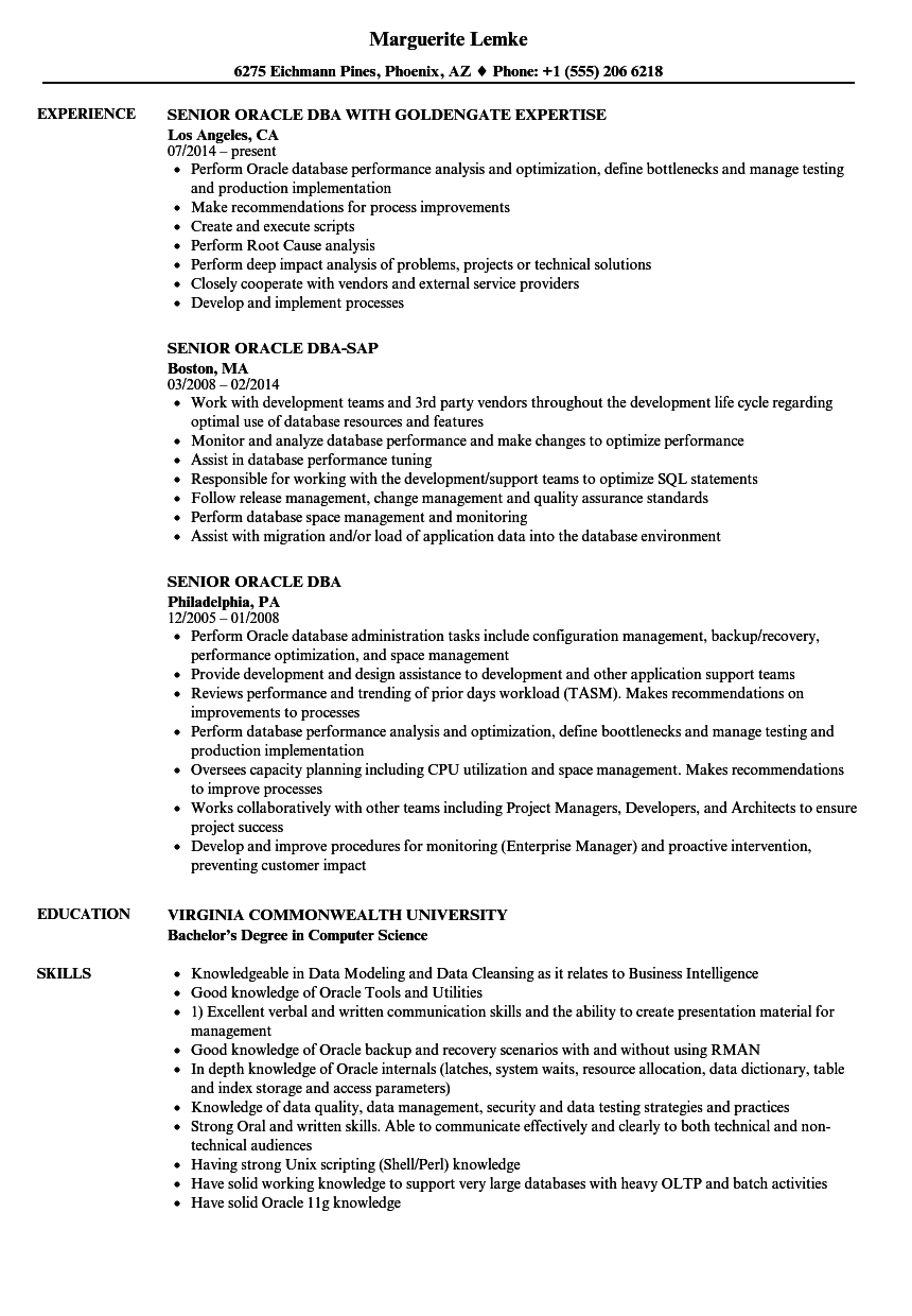 senior oracle dba resume samples