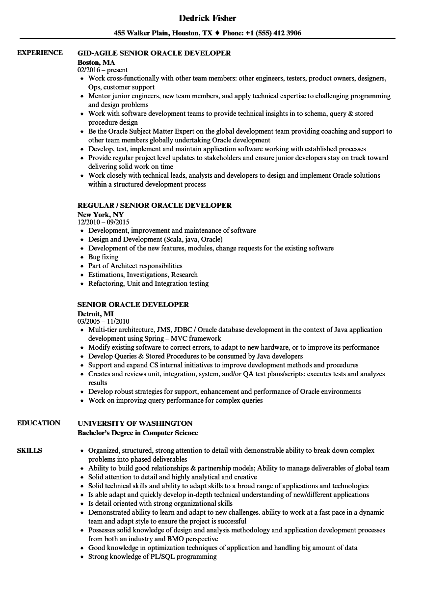 senior oracle developer resume samples