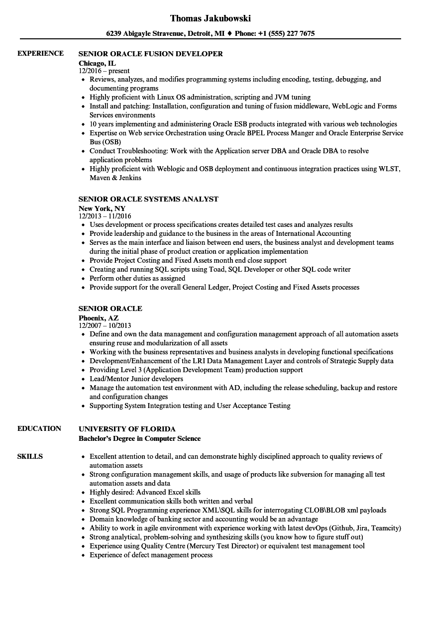 Senior Oracle Resume Samples | Velvet Jobs