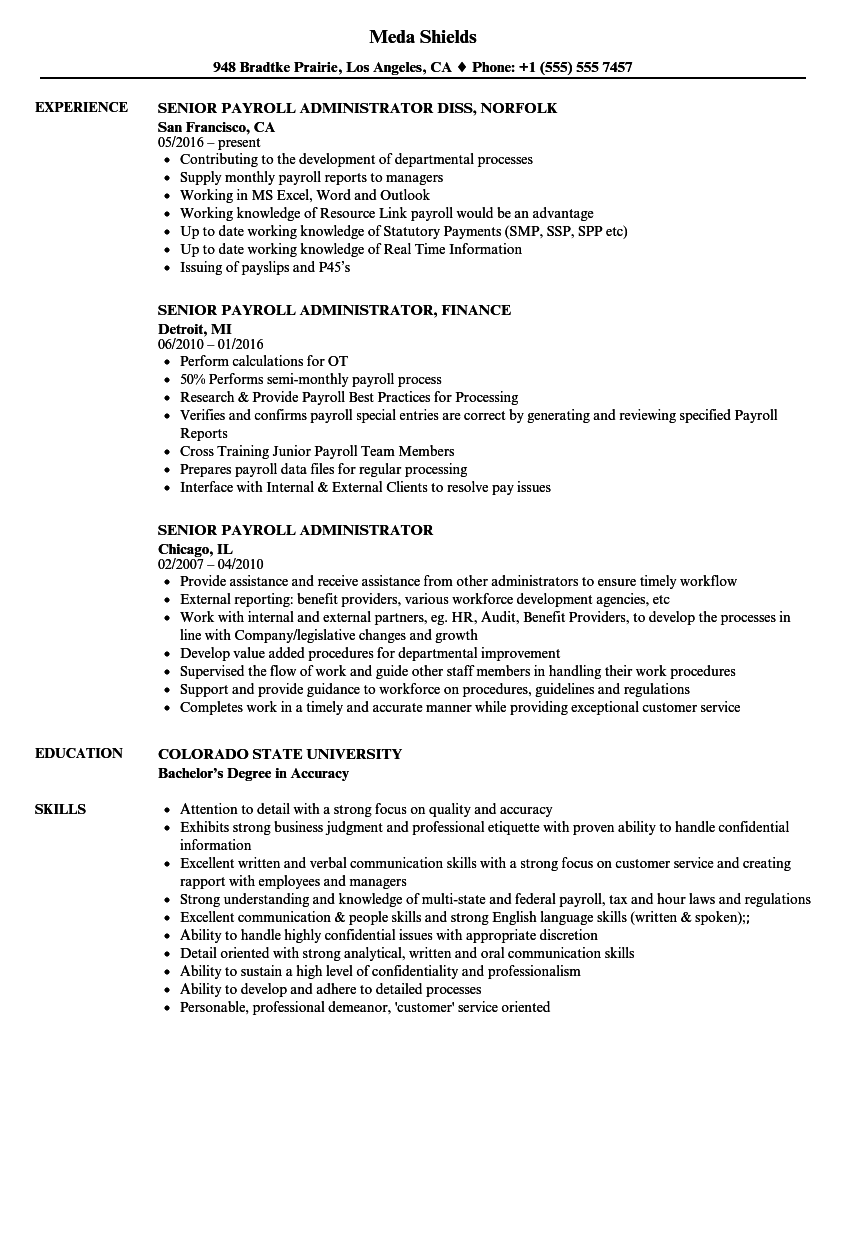 senior payroll administrator resume samples velvet jobs