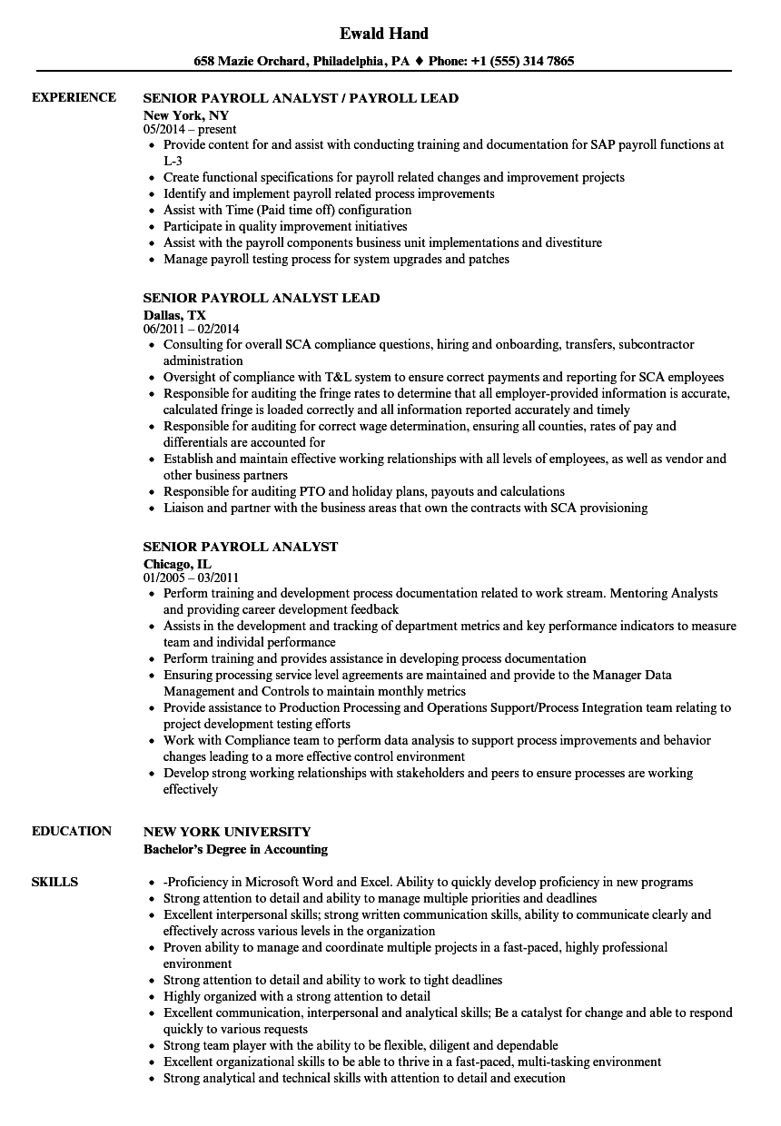 senior payroll analyst resume samples