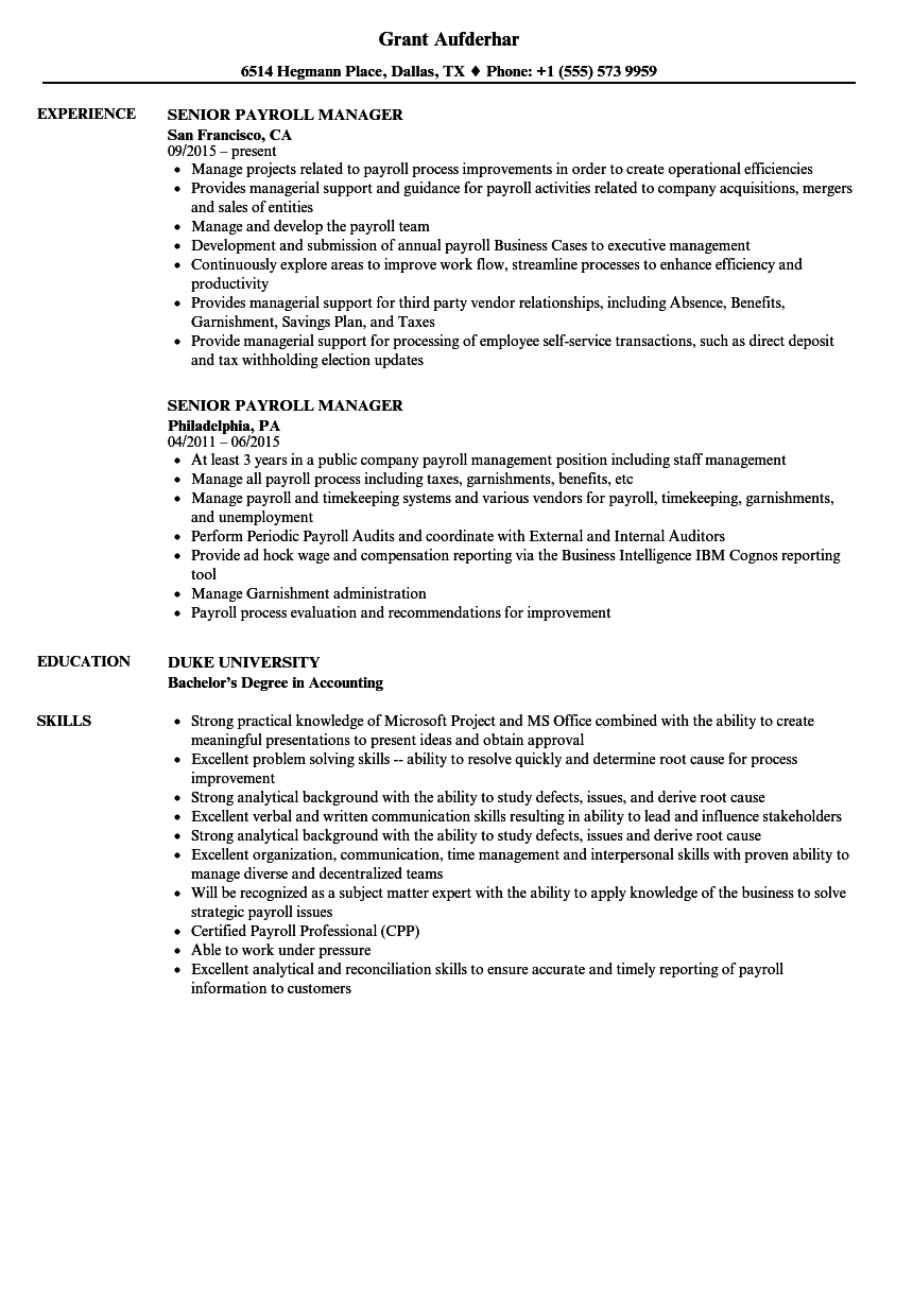 senior payroll manager resume samples