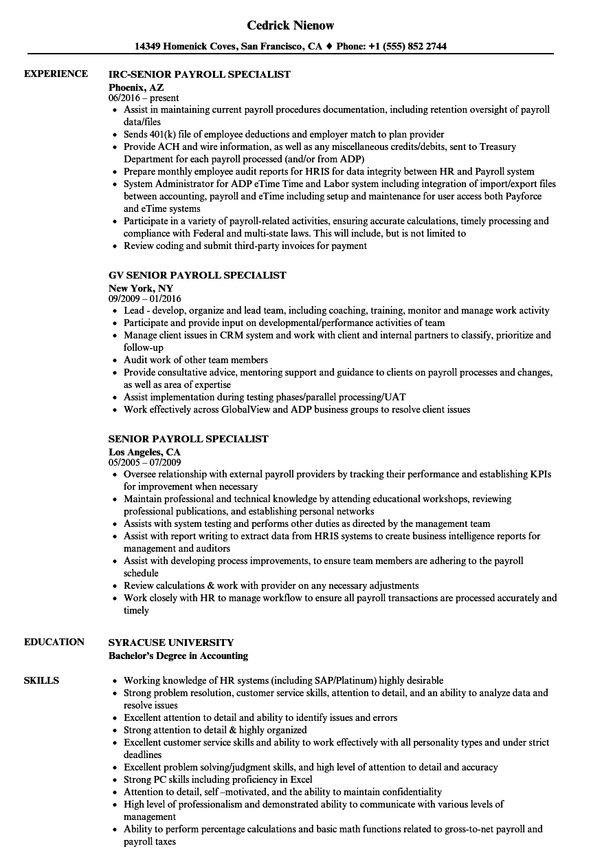 Senior Payroll Specialist Resume Samples | Velvet Jobs