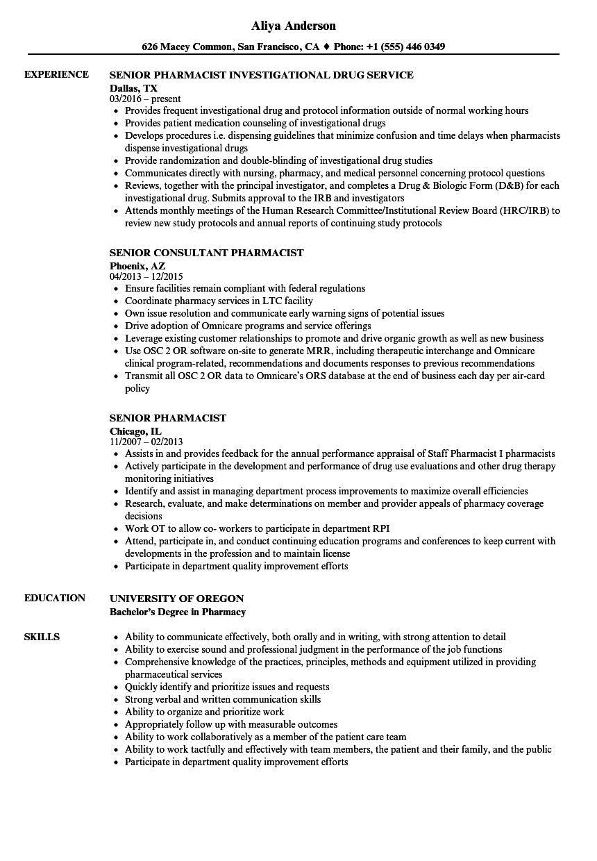 download senior pharmacist resume sample as image file - Pharmacist Resume Sample