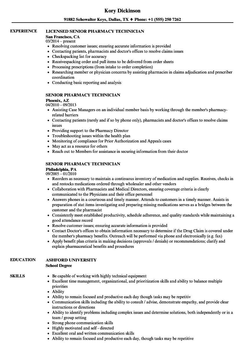 Senior Pharmacy Technician Resume Samples | Velvet Jobs