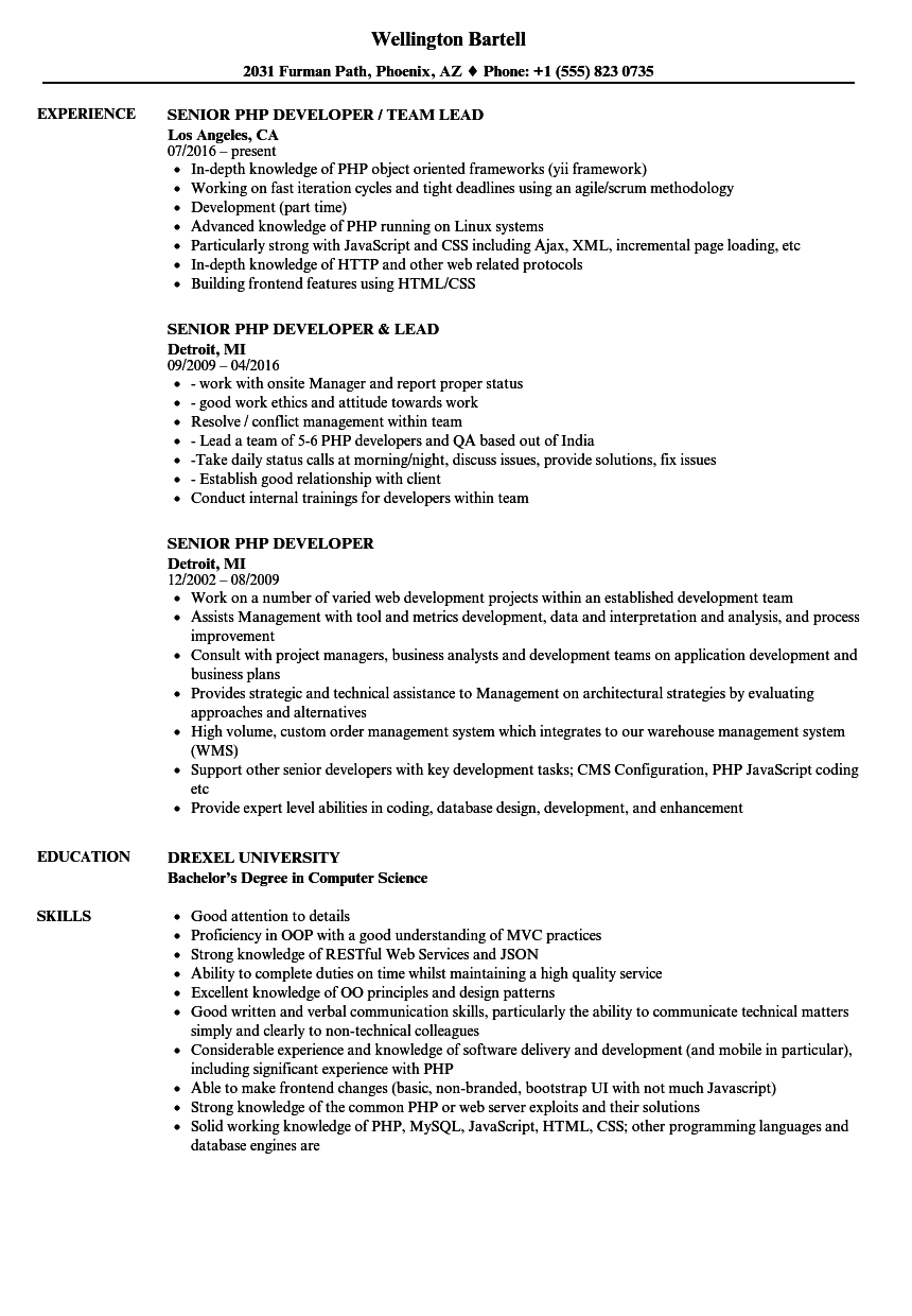 Senior PHP Developer Resume Samples | Velvet Jobs