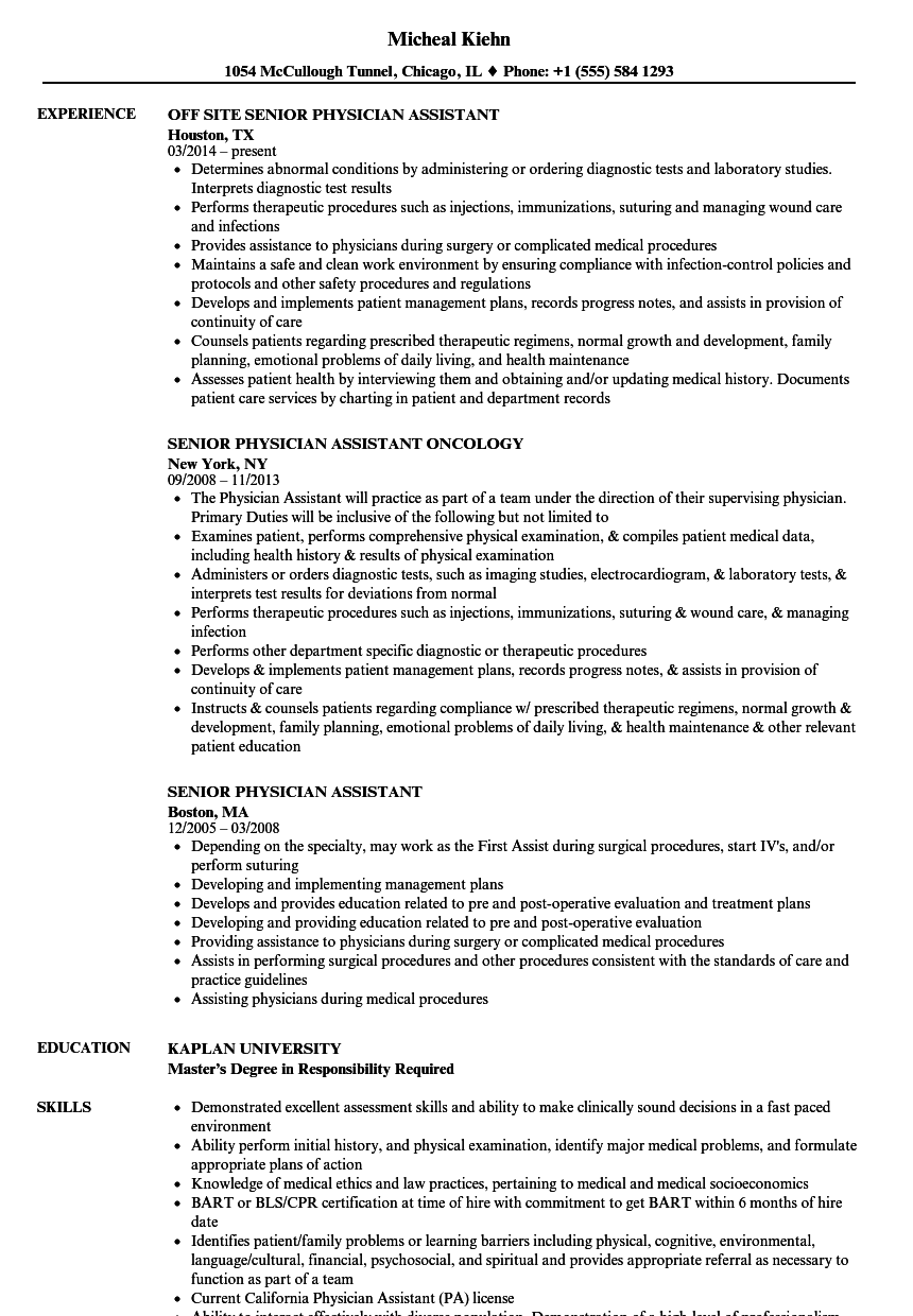 Senior Physician Assistant Resume Samples | Velvet Jobs