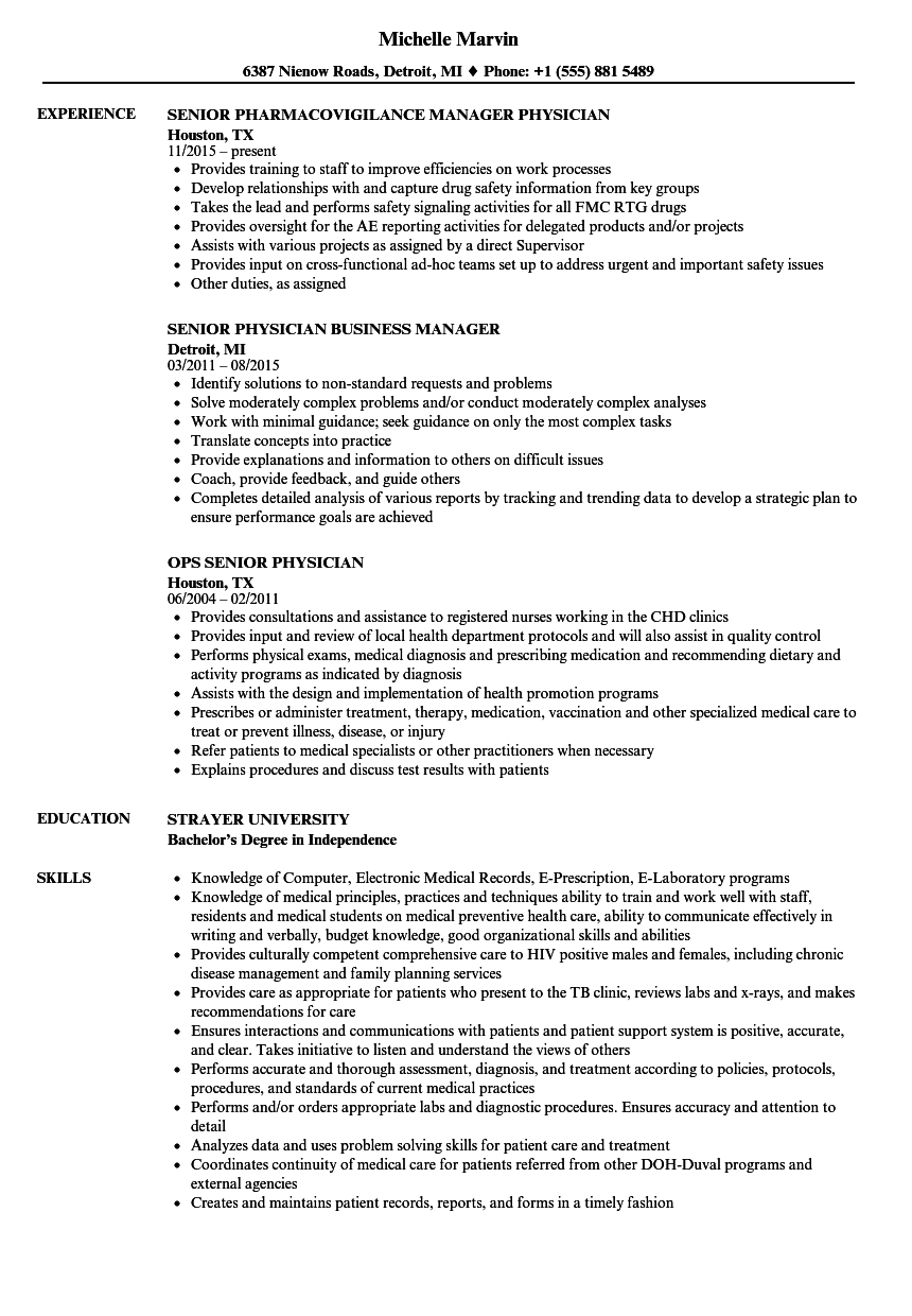 senior physician resume samples