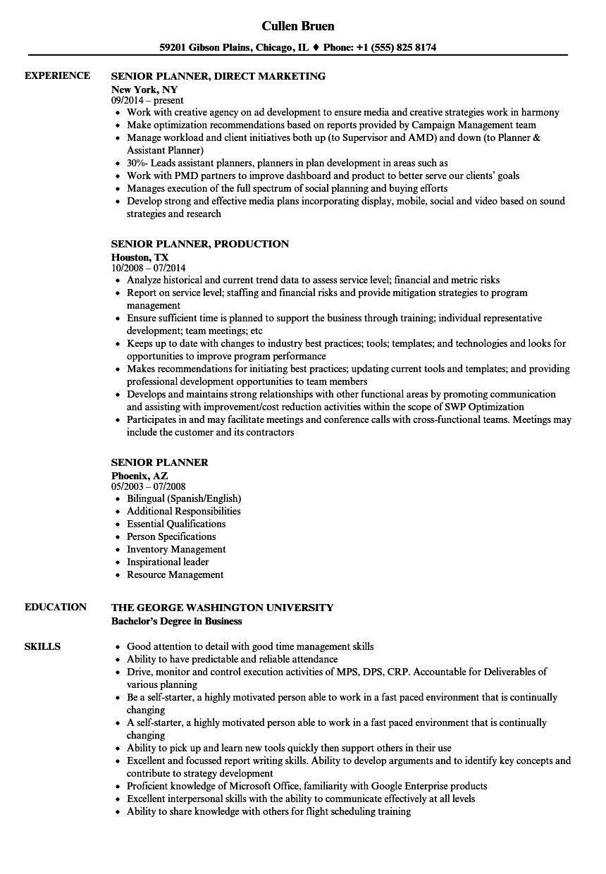 senior planner resume samples velvet jobs