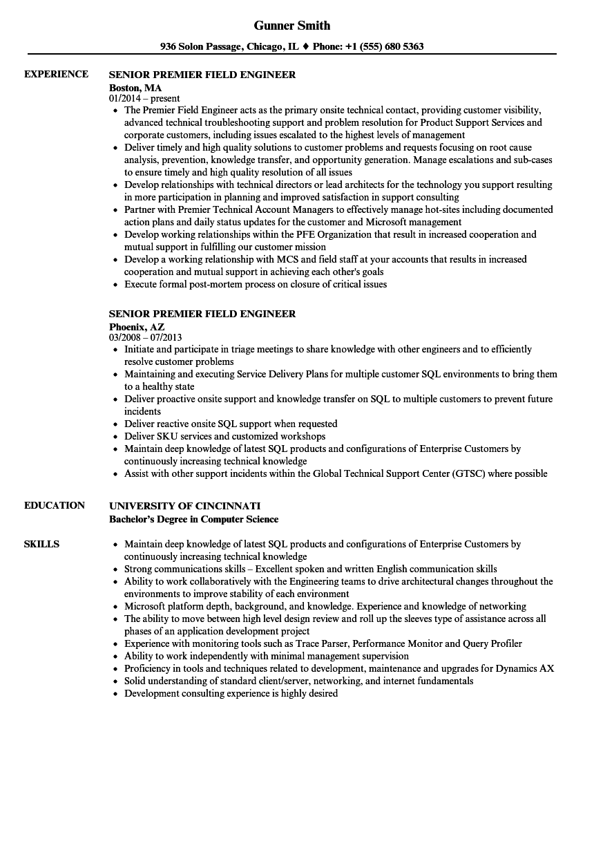 senior premier field engineer resume samples