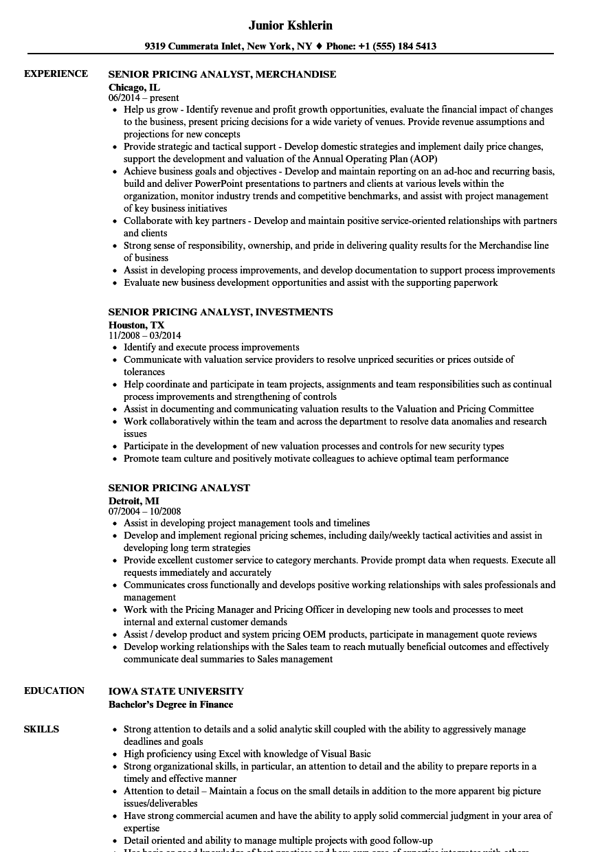 senior pricing analyst resume samples