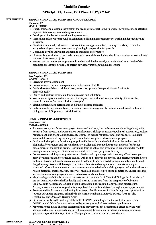 senior principal scientist resume samples velvet jobs