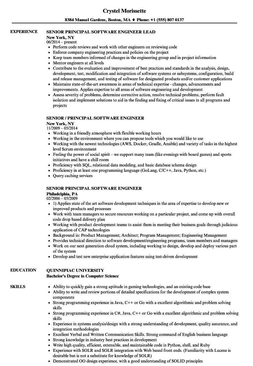 senior principal software engineer resume samples