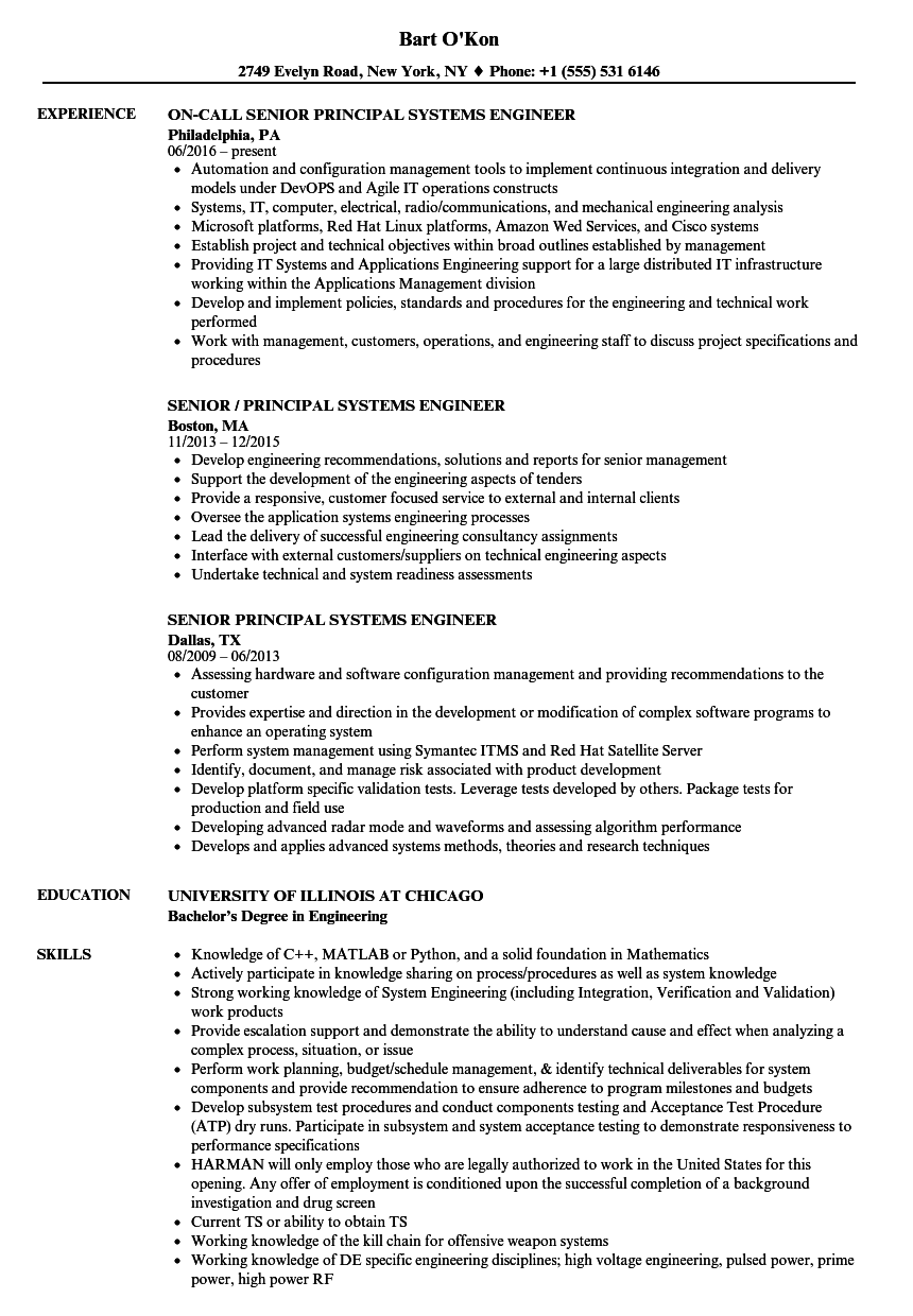 senior principal systems engineer resume samples