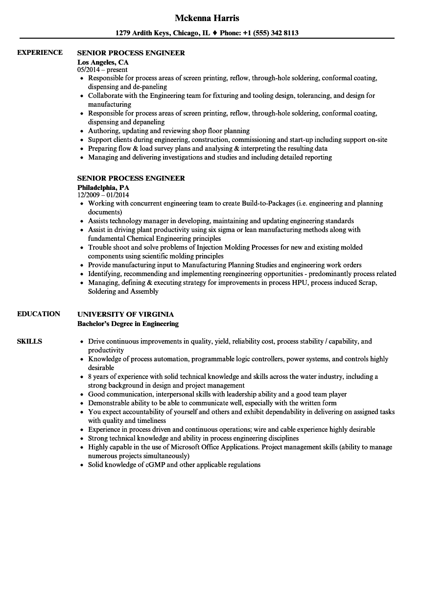 senior process engineer resume samples