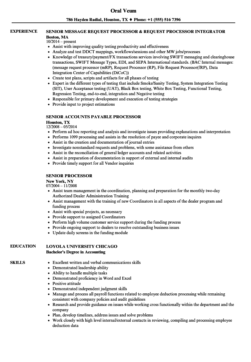 senior processor resume samples