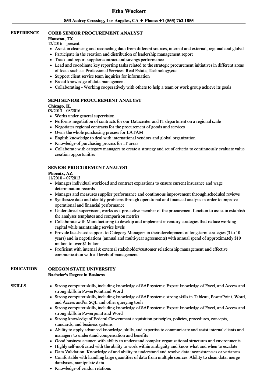 Senior Procurement Analyst Resume Samples | Velvet Jobs