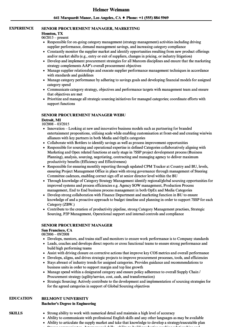 Senior Procurement Manager Resume Samples Velvet Jobs
