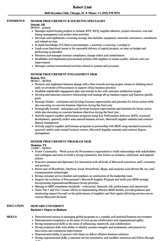 senior procurement resume samples