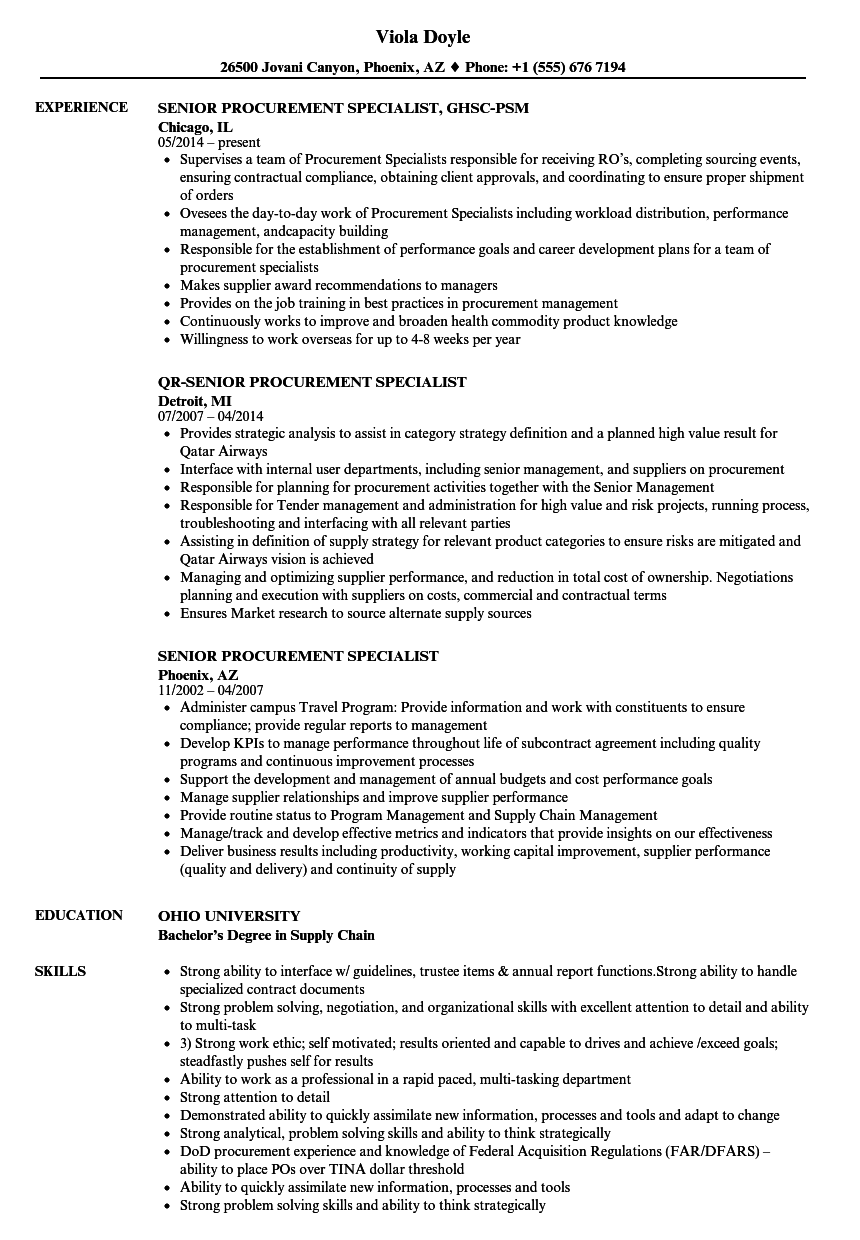 Senior Procurement Specialist Resume Samples | Velvet Jobs