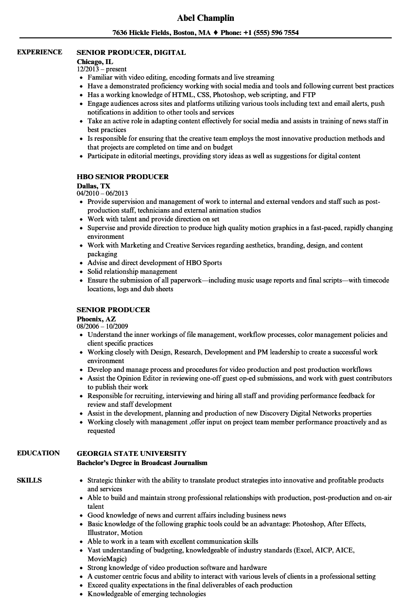 senior producer resume samples velvet jobs - Duties Of A Producer