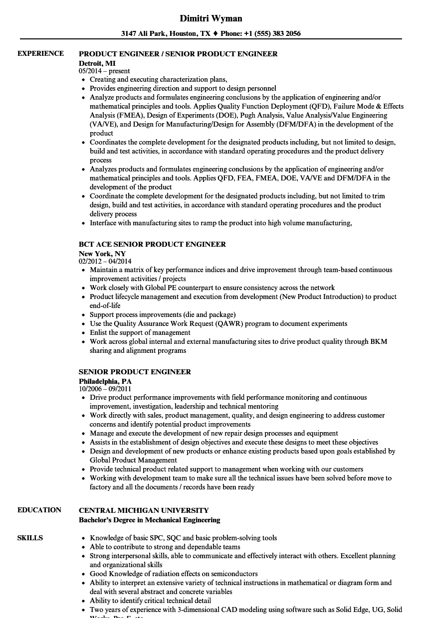 Download Senior Product Engineer Resume Sample As Image File