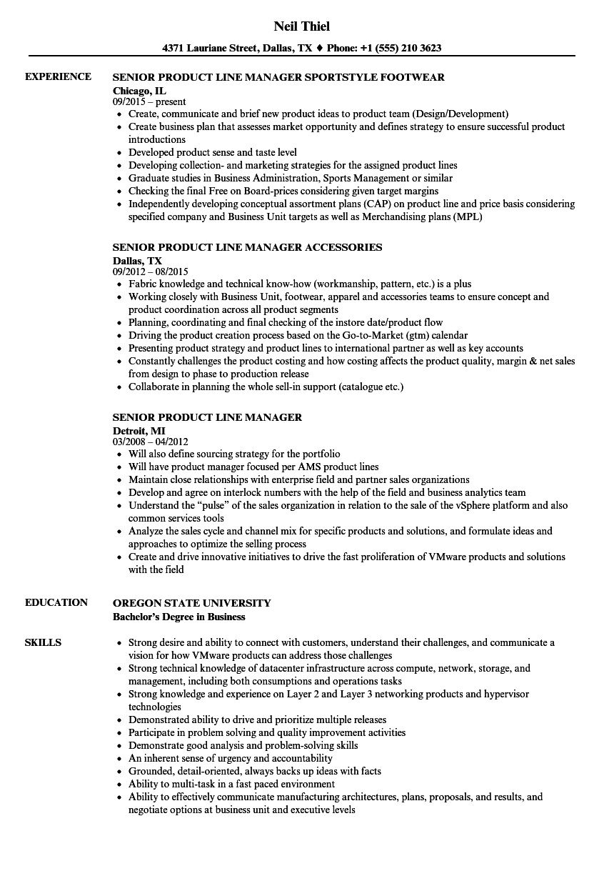 senior product line manager resume samples