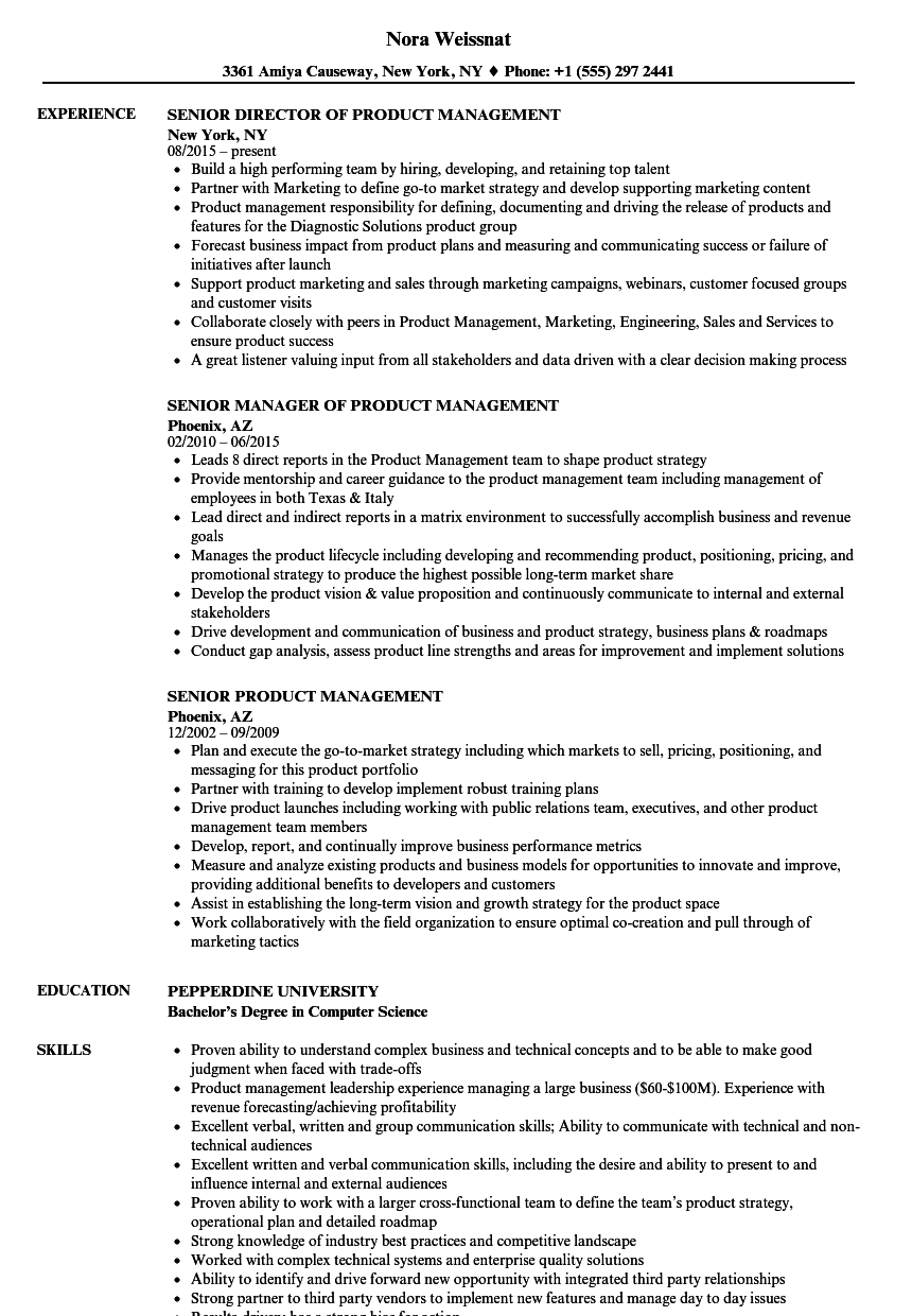 Senior Product Management Resume Samples | Velvet Jobs