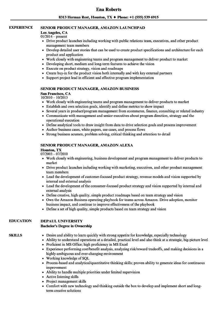 Senior Product Manager, Amazon Resume Samples | Velvet Jobs