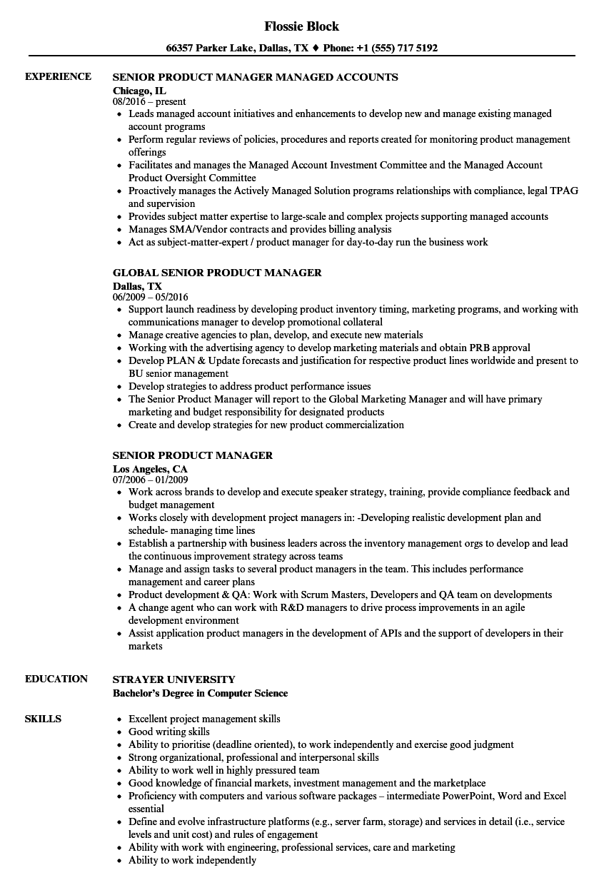 Senior Product Manager Resume Samples | Velvet Jobs